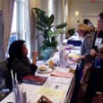 Amy Simmons at SEJ membership table: Click for full-sized image
