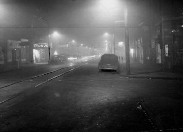 View of Donora as deadly smog envelops the Washington Co. community. Photo courtesy Pittsburgh Post-Gazette.